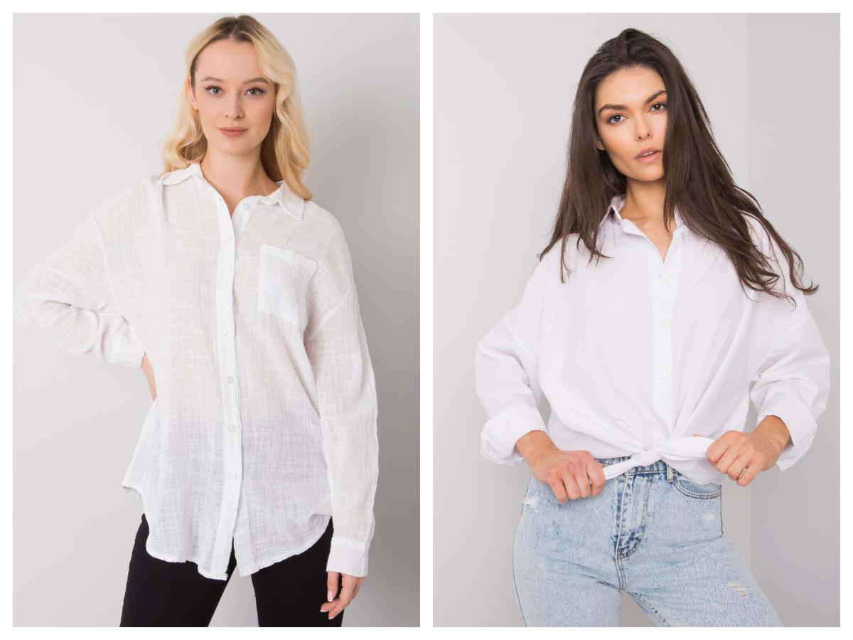 Biała koszula damska w stylizacjach z wiązaniem
