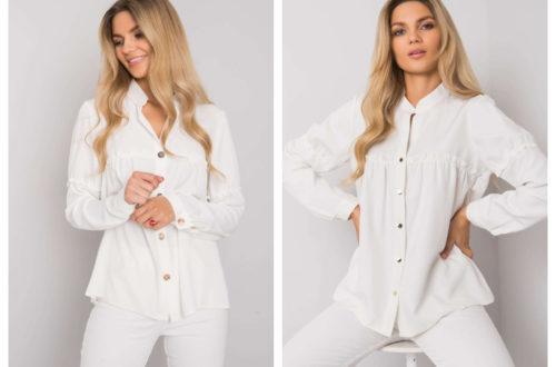 Biała koszula damska w stylizacjach z długim rękawem